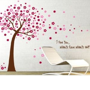 Beautiful Pink Cherry Tree Wall Art Decal - living